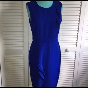 NWT Donna Karan brilliant blue ruffle dress sz6